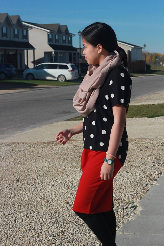 Polka Dots Red Pencil Skirt Scarf