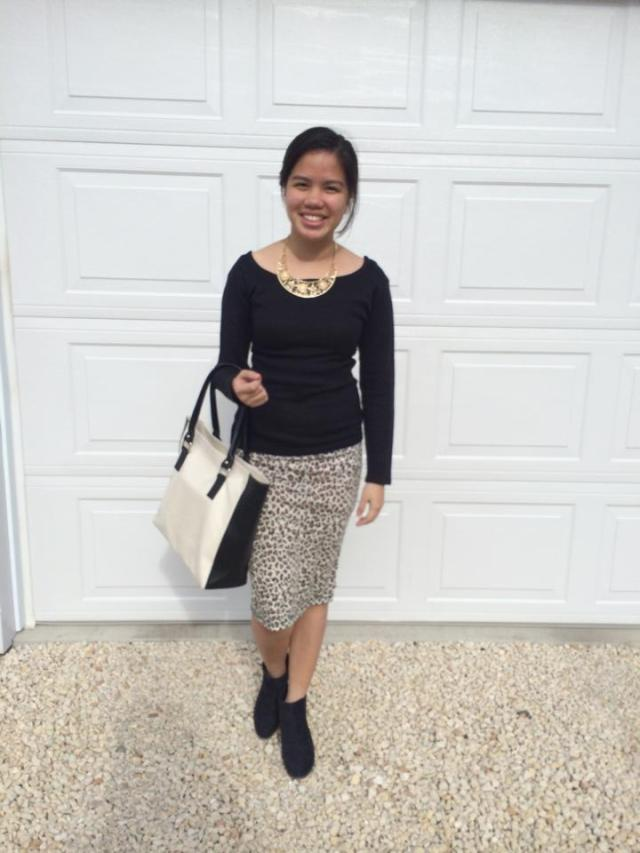 Leopard Skirt Statement Necklace Sweater