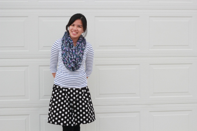 Triple Pattern Mixing for Fall polka dot skirt, floral scarf, stripe top